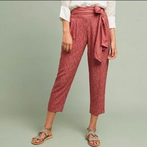 Anthropologie tapered paper bag pants sz 0